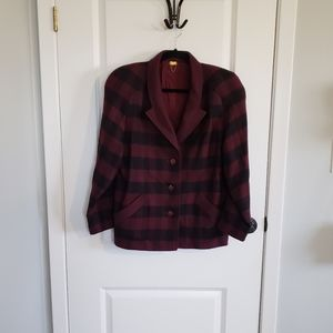 VINTAGE ST. SOPHIA Wool Red Plaid Blazer
